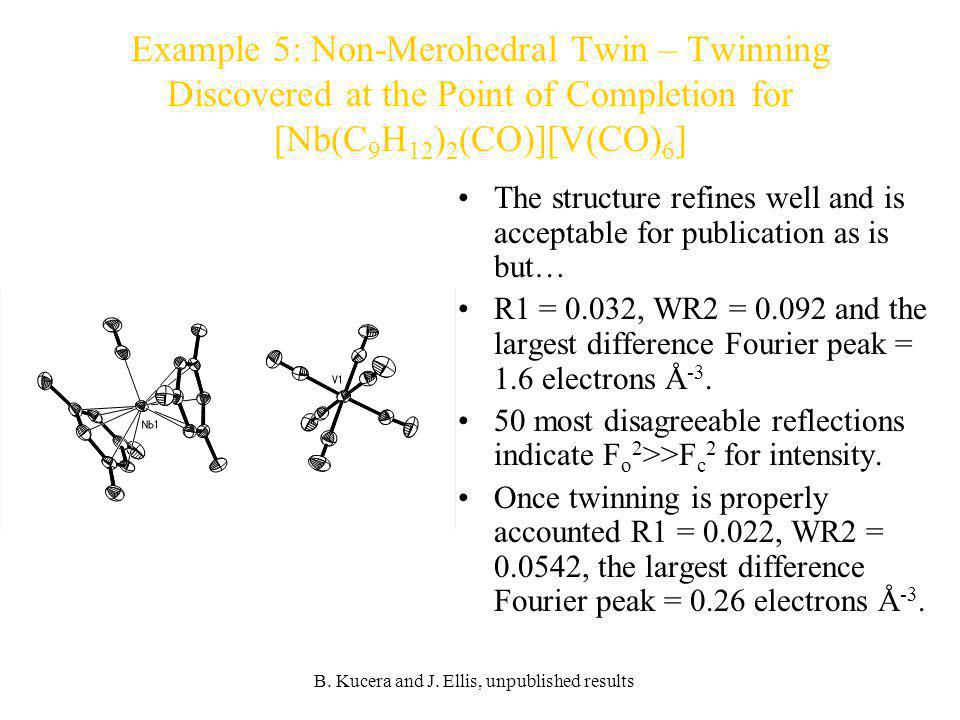 Example 5: Non-Merohedral Twin – Twinning Discovered at the Point of Completion for [Nb(C9H12)2(CO)][V(CO)6]